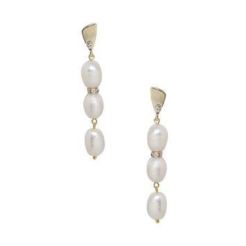 Drop Crystal and Pearl Earrings in Gold