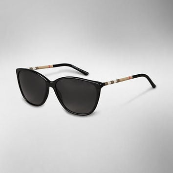 Check Wrapped Cat-Eye Sunglasses