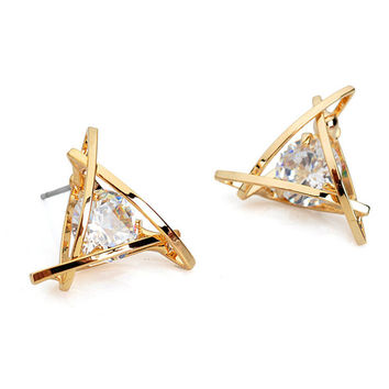 1Pair Classic Exquisite Triangle Pierced Crystal Zircon Stud Earrings For Women Party Daily Wear Jewelry Earring