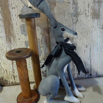 Ebony Hare: vintage style, soft sculpture (rabbit, bunny), fabric art doll, artist bear. Perfect heirloom gift or a gift just for you!