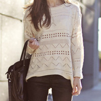 (2 Days FREE SHIPPING ) Beige Geometric Eyelet Embellished Knit Jumper Sweater