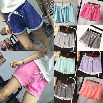 PEAPGC3 New Fashion Summer Women Elastic Waist Tunic Drawstring Elegant Beach Pocket Cuffs Casual Shorts