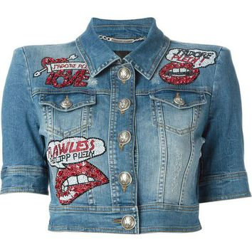 DCCKIN3 Philipp Plein 'Kisses' denim jacket