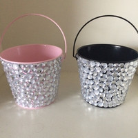 Clear Rhinestone Tin Bucket