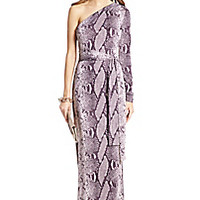 DVF Coco Silk Jersey One Shoulder Maxi Wrap Dress