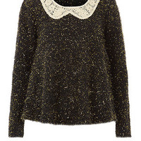 Black Sequin Collar Metallic Fluffy Jumper