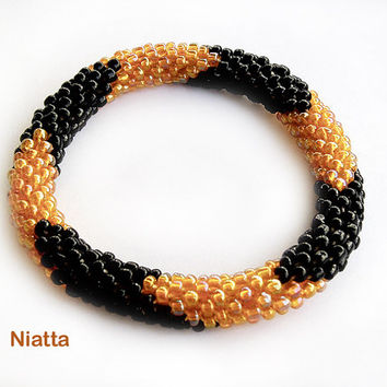 Orange Black Halloween Roll On Bracelet Crochet Bead Rope Niatta