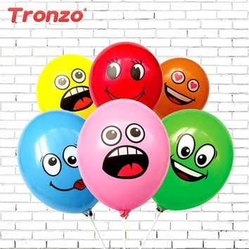 Tronzo 10pcs Smile Balloons Birthday Party Decorations Kids Favors Mix Color Funny Latex Air Balloons Children Party Decoration