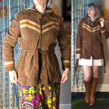 Vintage 1970's RETRO BoHEMIAN Chevron Brown SUEDE HOODIE BeLTED Leather Coat