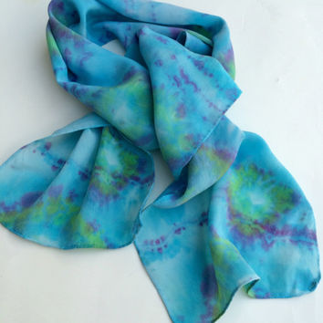 SILK SCARF, Islands in the Sea, hand dyed, silk scarves, hand dyed scarf, turquoise blue, emerald green, lavender