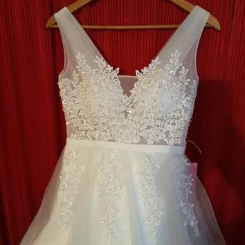 Simple Wedding Dress White Ivory Applique Tulle Wedding Dresses Prom Gown
