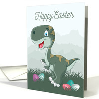 Laughing Dinosaur with Easter Eggs for Easter card