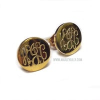 Monogrammed Small Round Earrings on Posts | Monogram Custom Jewelry