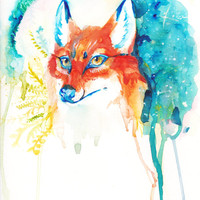 Lovely Watercolor Fox Hazel eyes Painting