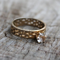 Vintage Gold Metal Filigree Band with Glass Stone- Engagement Ring