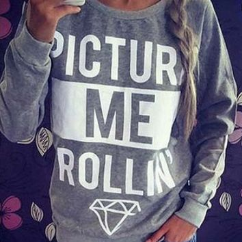Letter Diamond Print Sweater