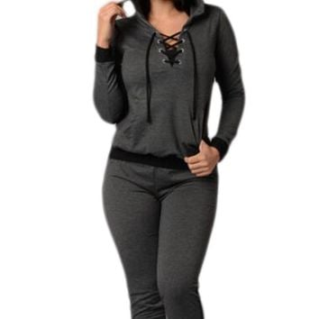 Chicloth Dark Grey Lace Up Hoodie 2pcs Tracksuit