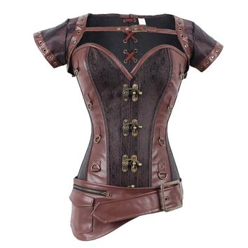Brown Sexy Corselet Corset Overbust Steel Boned Corsets And Bustiers
