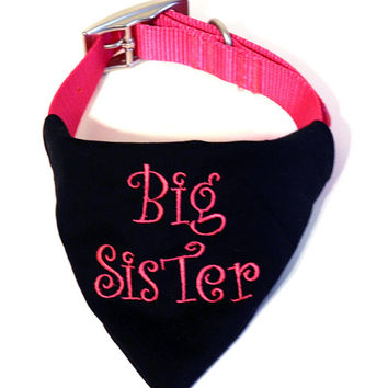 Personalized Dog Bandana-Pregnancy Announcement-Baby Announcement-Completely Customized Big Sister Dog Bandana-Big Sister Baby Announcement