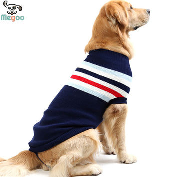 Striped Dog Sweater Winter Large Dog Clothes Soft Warm Puppy Jumper Knitted Coat Size 20-24