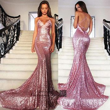 Sexy Pink Sequined Mermaid Prom Dresses Cheap Long Evening Party Dress Formal Special Occasion Backless Vestidos de Formatura
