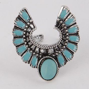 "1.25"" silver turquoise open cuff adjustable boho ring one size"
