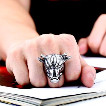 DoreenBeads Titanium Steel Antique Silver Bull Ring Fashion Jewelry Punk Exaggerated Series For Men Gift,1 Peice