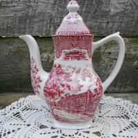 Nice W. H. Grindley Red and White Transferware Tea Pot - English Country Inns - Coffee Pot - English Transferware - Holiday Dinnerware