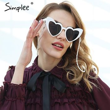 Simplee Elegant white pearls sunglass chains lanyards women Fashion streetwear sunglass accessories 2018 Hold straps eyewear
