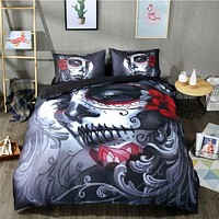 Black Skull Bedding Set Style Bed Sheet Queen King Double Bed Linen Cotton Blend
