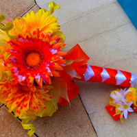 Yellow Daisy Bouquet - Daisy Wedding Bouquet- Chevron Bouquet-Ready to Ship