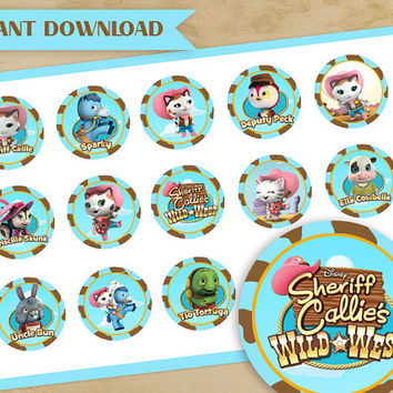 Sheriff  Callie's Wild West  - Disney -  1 Inch Circles, Stickers,  Tags, bottle cups, printable, two colors , pink and blue