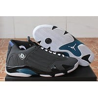 Air Jordan 14 Retro AJ14 Black/Gray/Blue Basketball Shoe