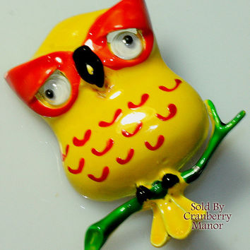 Lind-Gal Brooch Pin, Owl Bird Figural, Orange & Yellow Spring Enamel, Googly Eyes, 1950s Vintage Fashion, Designer Signed, Costume Jewelry