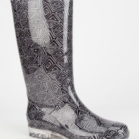 Toms Tribal Print Womens Cabrilla Rain Boots Black/White  In Sizes