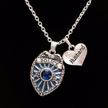 Blue Police Shield Badge Husband Heart Gift For Officer Charm Necklace