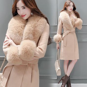 New Elegant Slim Long Trench Coat Women Autumn Winter Wool Blend Coat Female Long Sleeve Woolen Jacket Fur Outerwear SF1448