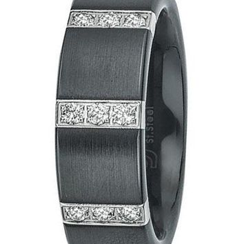 0.25 Carats Men's Diamond Wedding Band in Satin Black Ceramic (H-I I3)