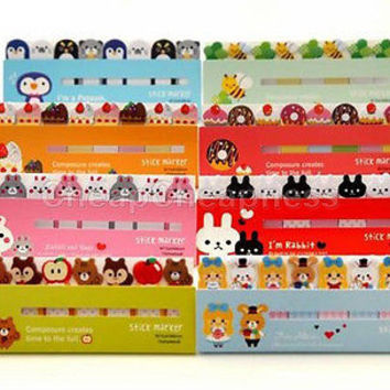 120 Pages Animals Sticker Bookmark Marker Memo Flags Sticky Notes US LS