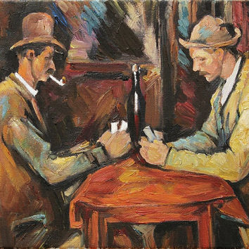 Paul Cézanne Card Players Fine Art Reproduction Oil Painting on Canvas Hand-Painted & Stretched