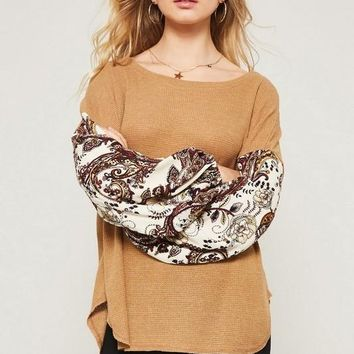 Paisley Print Puff Sleeve Top in Mustard