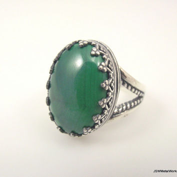Large Victorian Sterling Silver Malachite Ring, Ornate Silver Ring, Filigree Ring, Size 7