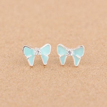 925 Sterling Silver Crystal Bowknot Epoxy Enamel Earrings For Women