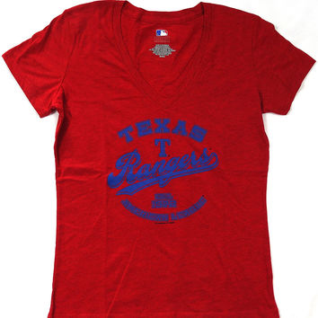 Texas Rangers Majestic Short Sleeve V Neck T Shirt Ladies M