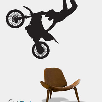 Vinyl Wall Art Decal Sticker Extreme Motocross Bike #138
