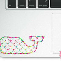 Vineyard Vines inspired whale decal, textured whale vinyl decal, quatrefoil decal, chevron decal, geometric decal, mermaid scales decal