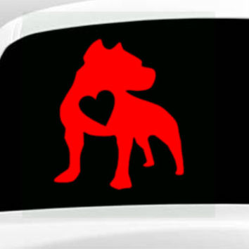 Pit Bull With Heart Vinyl Decal