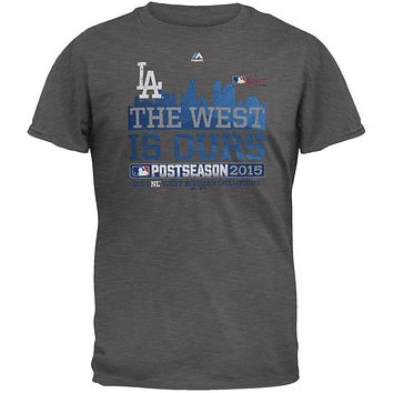 Los Angeles Dodgers - NL West 2015 Champs The West is Ours Soft Adult T-Shirt