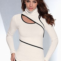 IVORY & BLACK Wrap turtleneck sweater from VENUS
