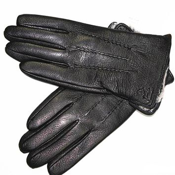 Guantes Winter Gloves Men's Leather Gloves Deerskin Thickened Water Wave Style Fake Lining Autumn And Winter Warm Free Shipping